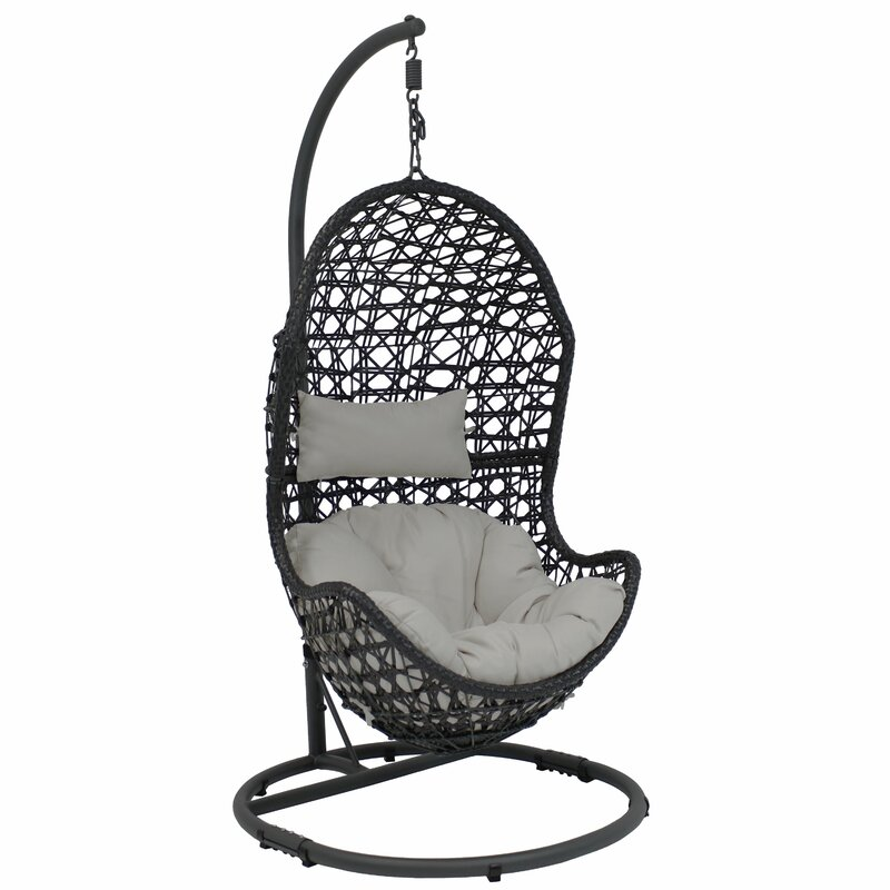Brayden Studio Sunnydaze Cordelia Hanging Egg Chair With Stand Resin Wicker Grey Cushions Reviews