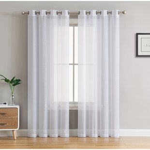 Highlawn Solid Sheer Grommet Curtain Panels (Set of 2) by Mercury Row