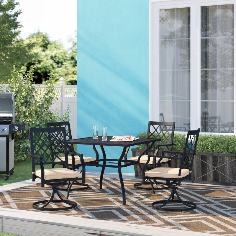 Charlton Home Stimson Outdoor 5 Piece Dining Set with Cushions
