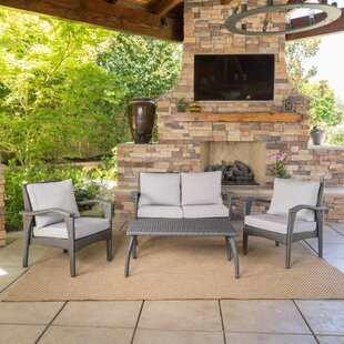 Guilford 4 Piece Rattan Sofa Seating Group with Cushions