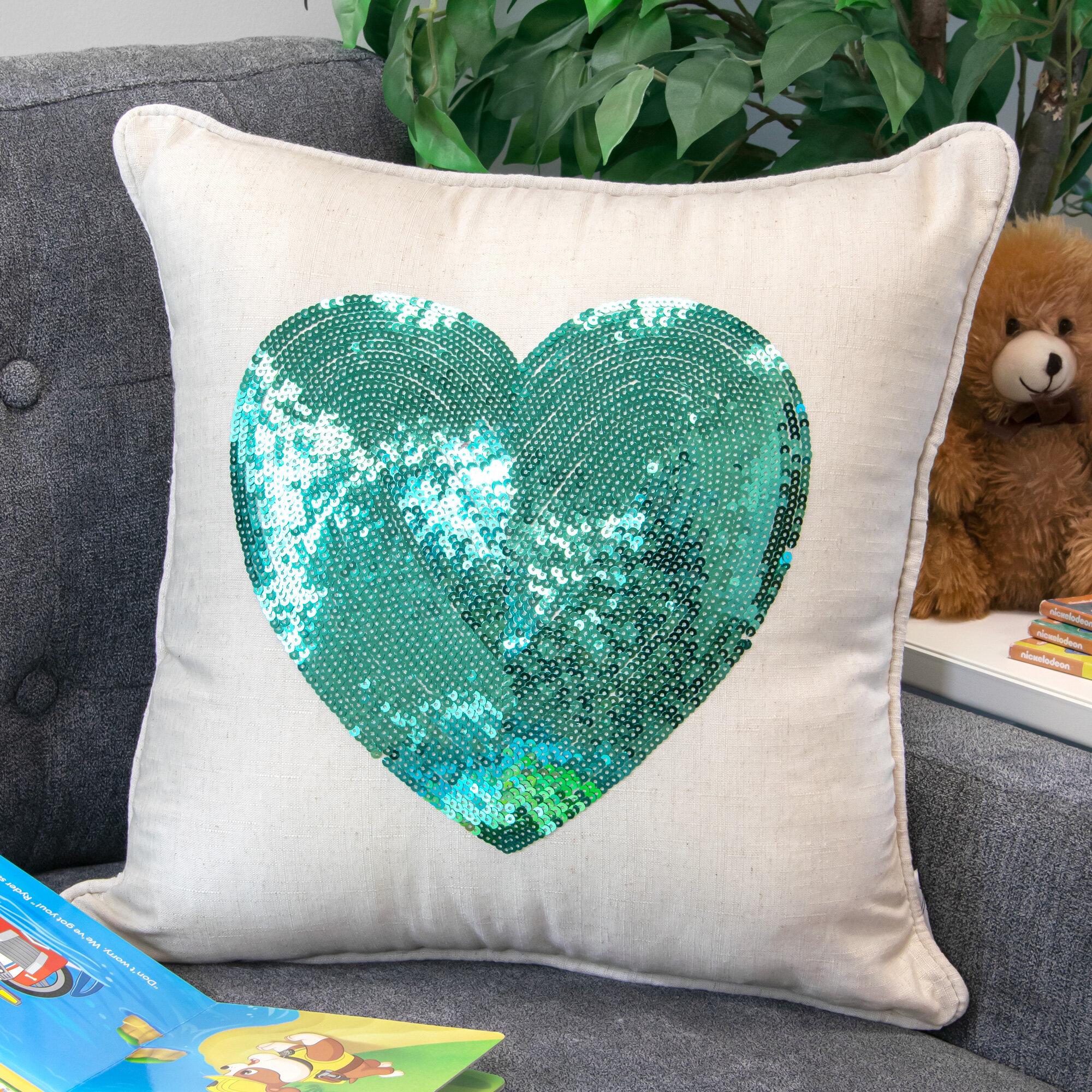 Trule Evans Sequin Heart Throw Pillow Reviews Wayfair