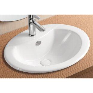 Caracalla Ceramica II Ceramic Oval Drop-In Bathroom Sink with Overflow