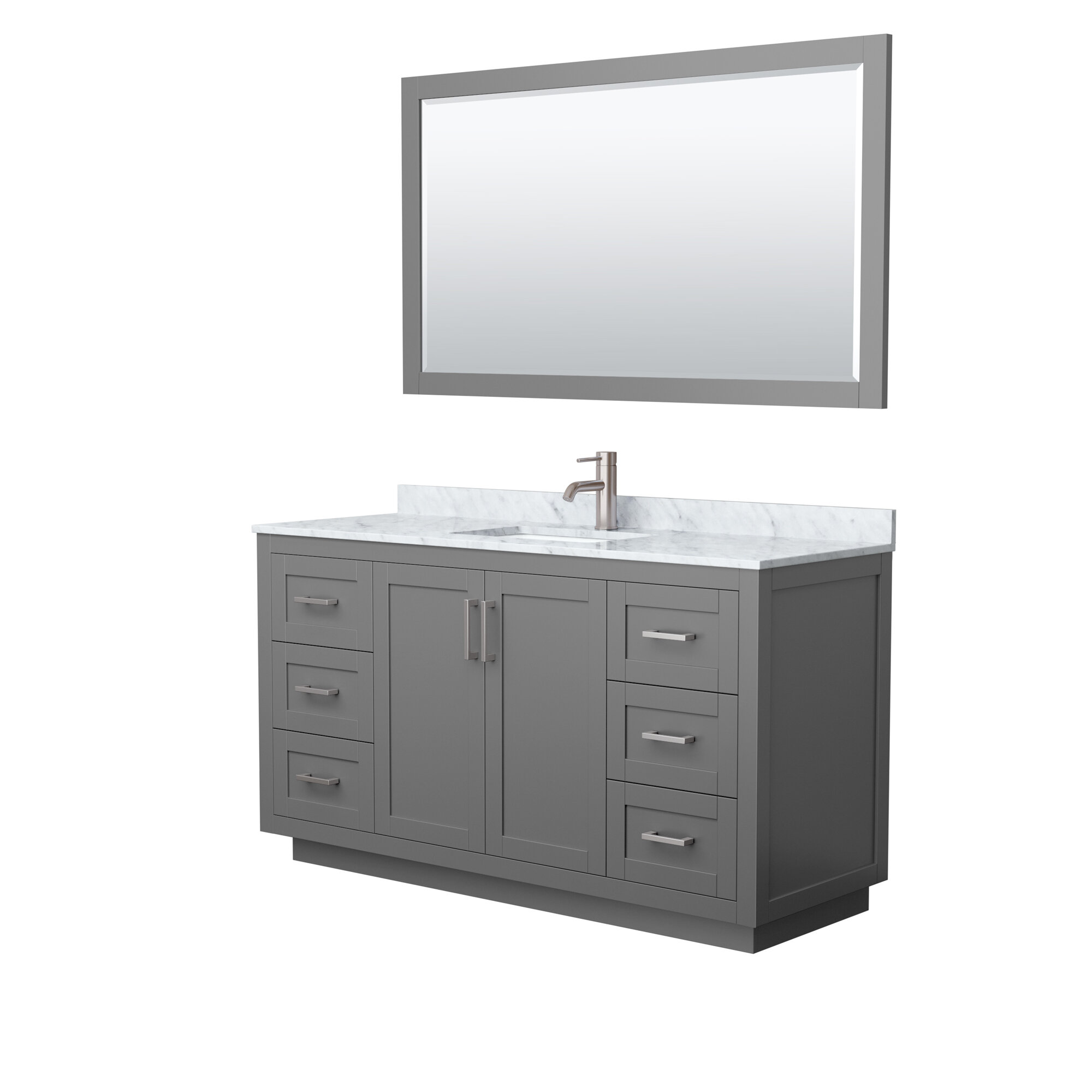 Wyndham Collection Miranda 60 Inch Single Bathroom Vanity In White White Carrara Marble Countertop Undermount Square Sink Brushed Gold Trim 58 Inch Mirror B9 Wayfair