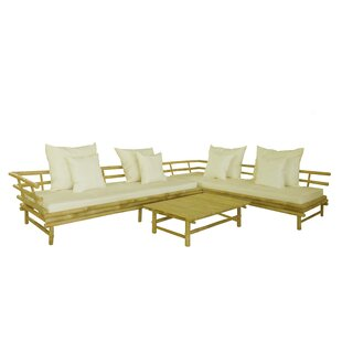 Bamboo 3 Piece Sectional Set with Cushions