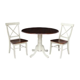 Spradlin Round Top 3 Piece Drop Leaf Solid Wood Dining Set August Grove