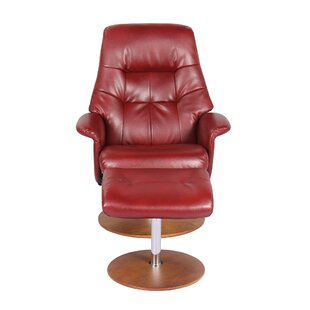 Hadriana Leather Manual Recliner with Ottoman by Latitude Run