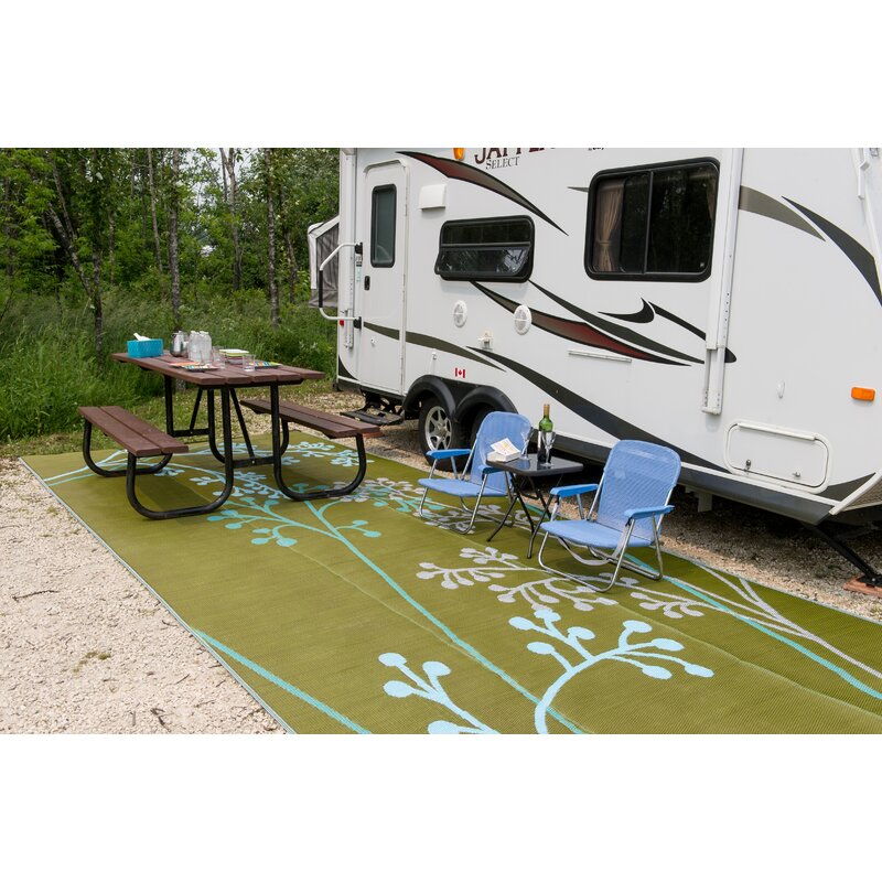 Fernando Reversible RV/Camping/Patio Mat In Blue/Green Outdoor Area Rug