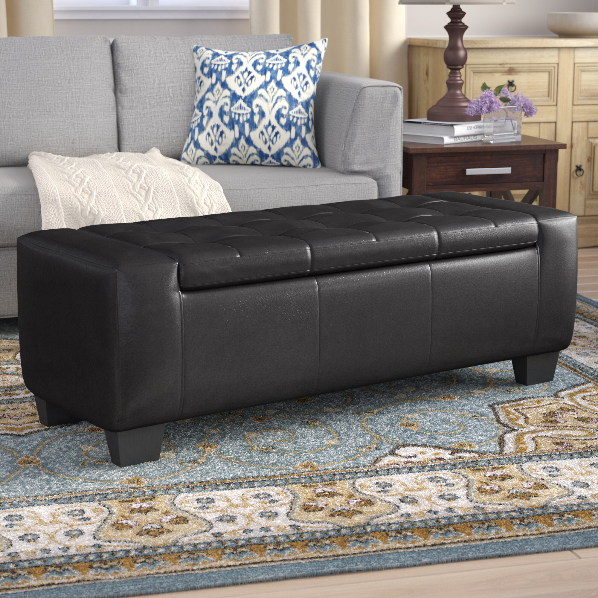 Astounding Pellegrin Leather Tufted Storage Ottoman Andrewgaddart Wooden Chair Designs For Living Room Andrewgaddartcom