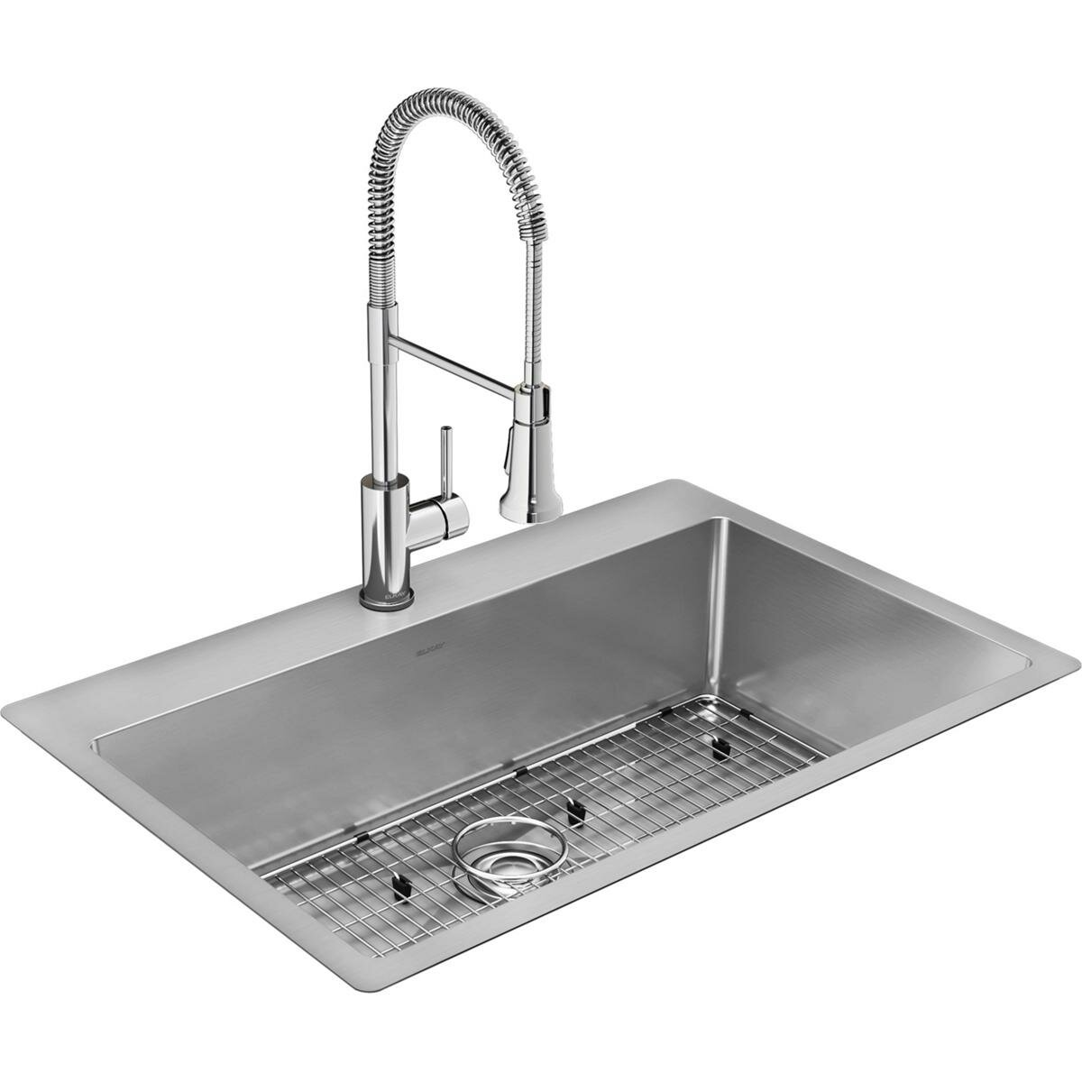 crosstown stainless steel 33 l x 22 w undermount kitchen sink with faucet