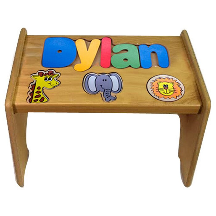 Fabulous Titus Child Jungle Themed Wooden Puzzle Personalized Step Stool Customarchery Wood Chair Design Ideas Customarcherynet