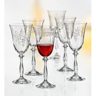 Saladino Etched 6-Piece 12 oz. Crystal Stemmed Wine Glass Set (Set of 6)