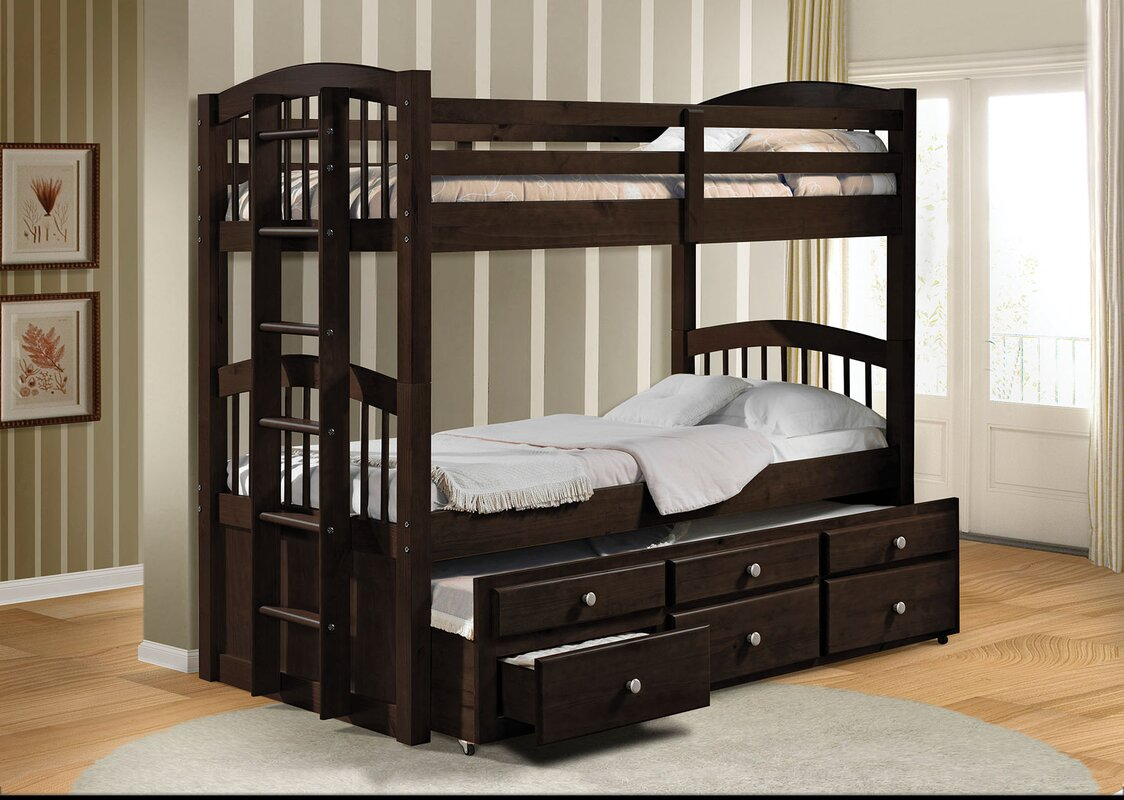 Bed furniture with drawers - Micah Twin Over Twin Bunk Bed With 3 Drawers