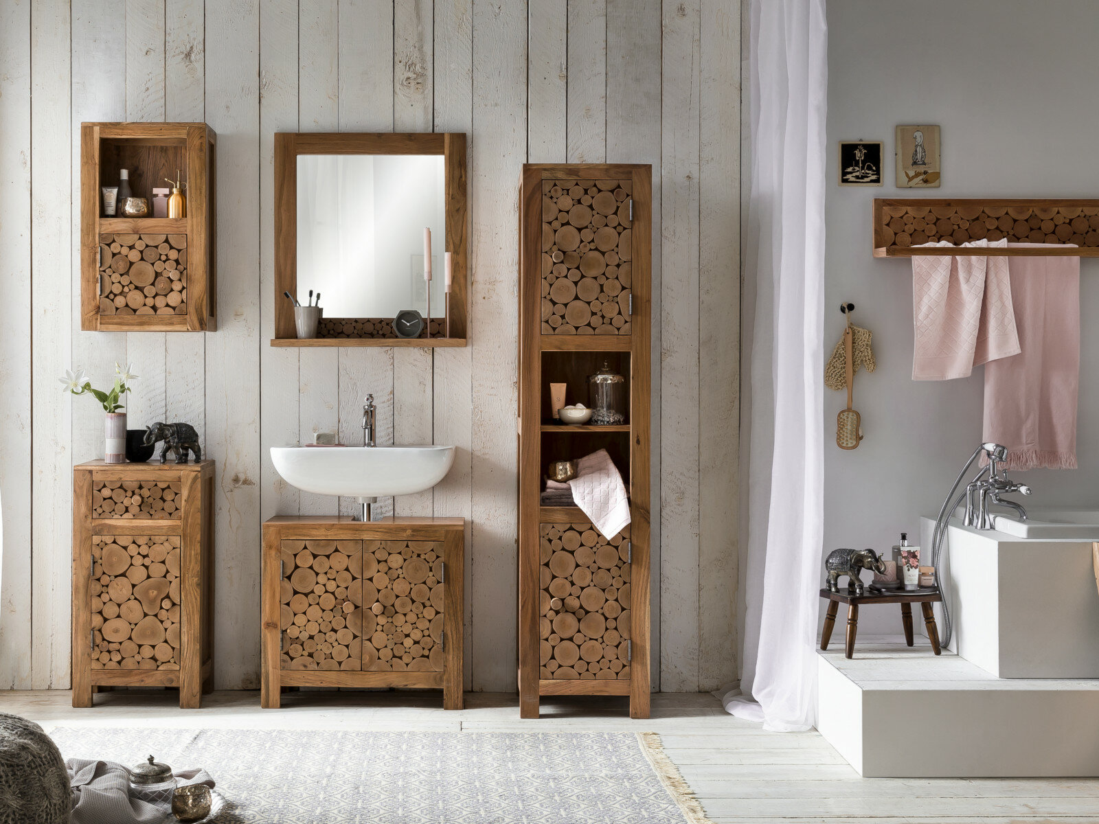 Wallace 10 Piece 10mm Bathroom Furniture Suite with Mirror