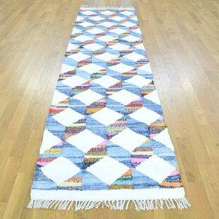 Buying One-of-a-Kind Illings Handmade Kilim Runner 2'7 x 9'10 Wool Blue/White Area Rug By Isabelline