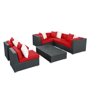 Modway Lambid 7 Piece Rattan Sectional Set with Cushions
