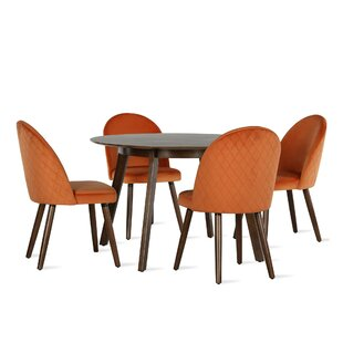 Burma Mid-Century Round 5-Piece Dining Set by Novogratz Best Choices
