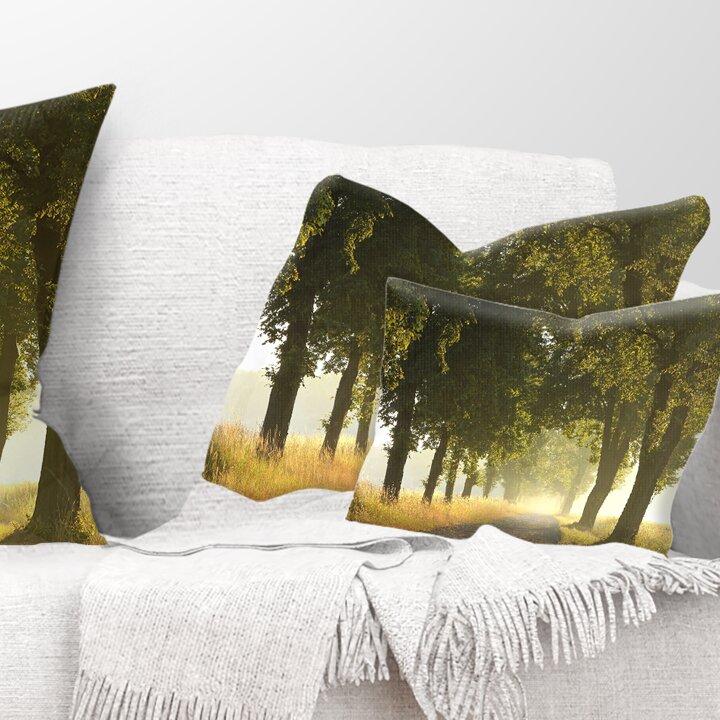 East Urban Home Country Road Below Trees Landscape Photo Lumbar Pillow Wayfair