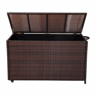 Homebeez Patio Entertainment Wicker Deck Box