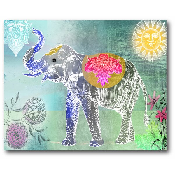 'Cool Elephant' Graphic wall Art Print on Wrapped Canvas