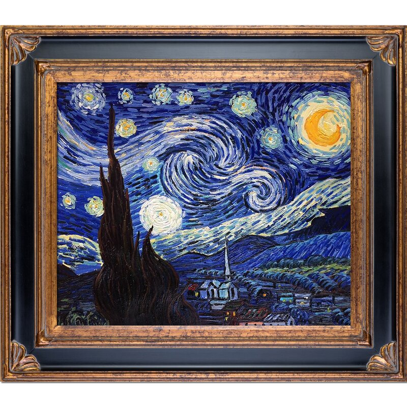 Well-liked Tori Home Starry Night by Vincent Van Gogh Framed Painting | Wayfair ZG02