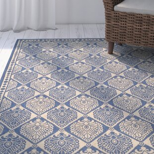 Romola Blue/Ivory Checked Indoor/Outdoor Area Rug