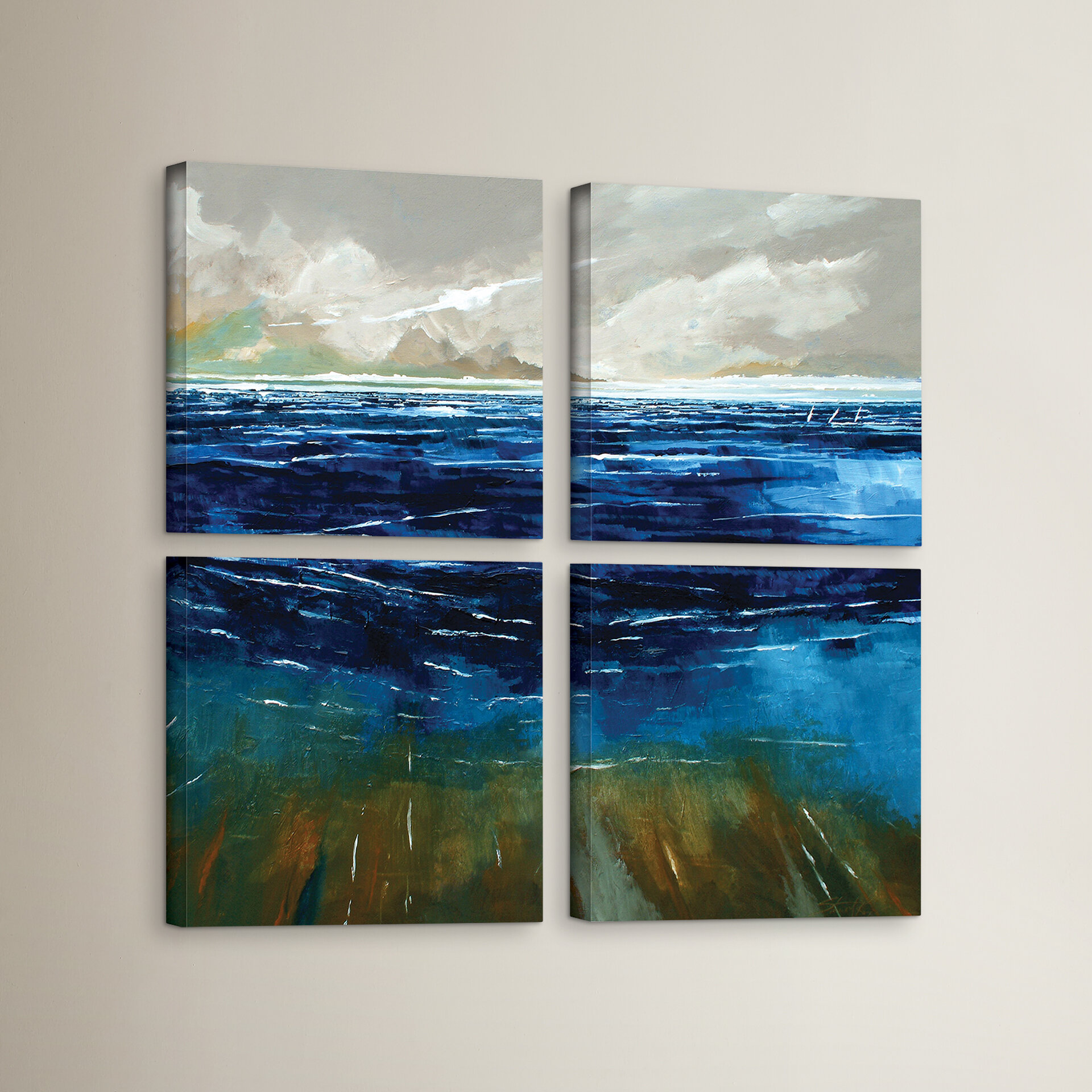 Breakwater Bay Beach And Sea 4 Piece Painting Print On Wrapped Canvas Set Wayfair