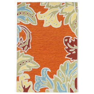Cosmo Ornamental Leaf Border Orange Indoor/Outdoor Area Rug