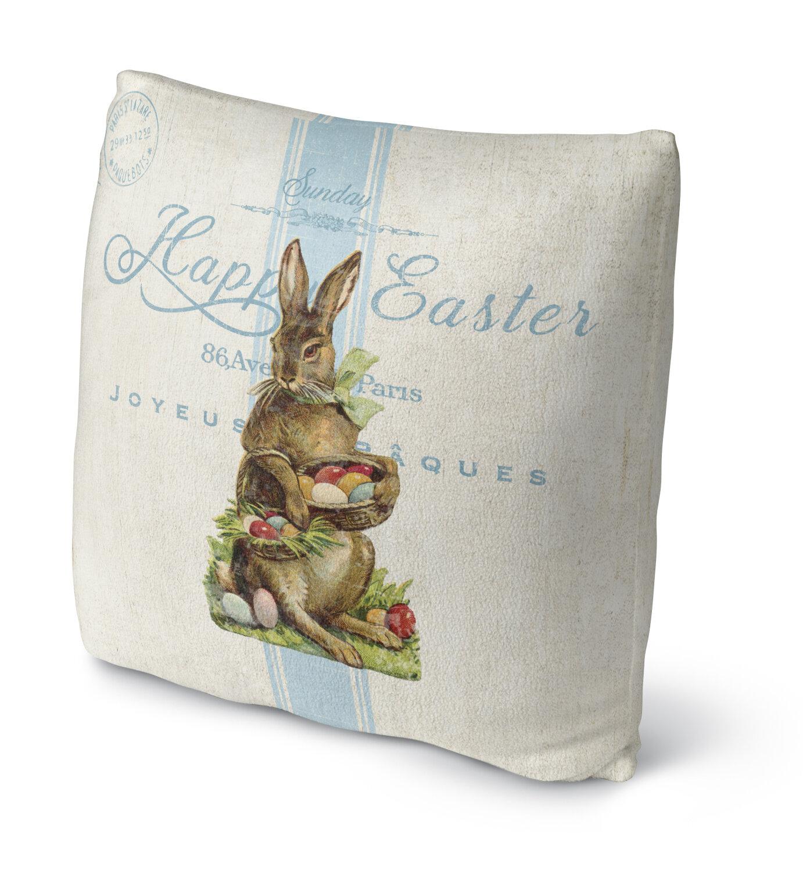 Raz 18 Colorful Bunny Easter Pillow: Kavka Easter Bunny With Easter Eggs Throw Pillow