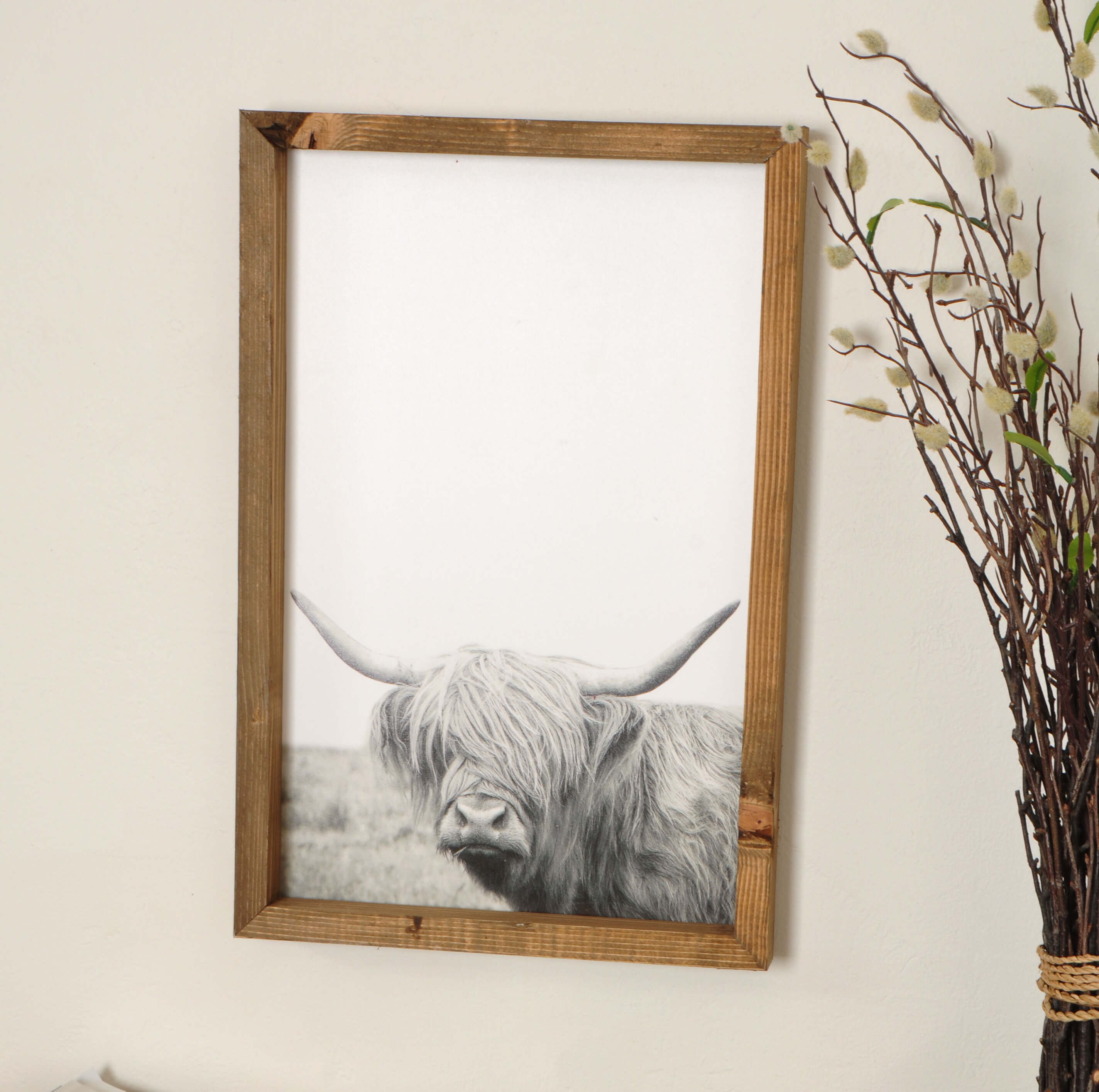 Foundry Select Rustic Bull Picture Frame Photograph Print On Plastic Acrylic Wayfair