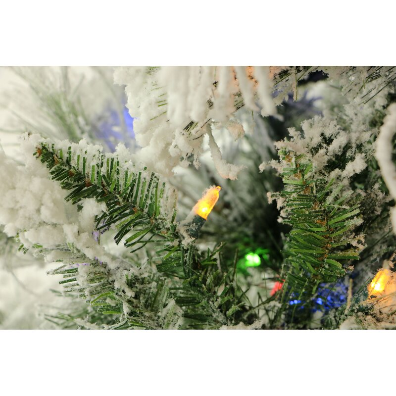 snowy pine 9 white aritificial christmas tree with 850 led multicolor string lighting with stand - How To String Lights On A Christmas Tree