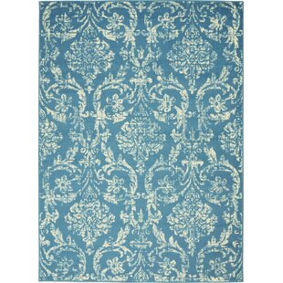 Wendy Abstract Blue/Ivory Area Rug by Ophelia & Co.