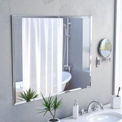 marylee rectangle beveled polish frameless wall mirror with hooks - Bathroom Wall Mirrors