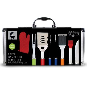 7 Piece BBQ Grilling Tool Set with Mitten Handle and Metal Case