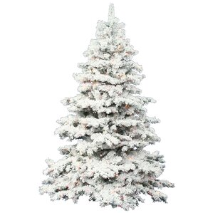 flocked alaskan 75 white artificial christmas tree with 900 dura lit clear lights with - Full Artificial Christmas Trees