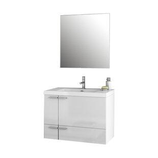 New Space 32 Wall-Mounted Single Bathroom Vanity Set with Mirror by ACF Bathroom Vanities