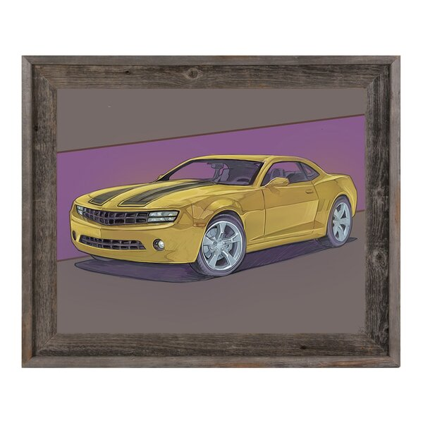 Click Wall Art Yellow Sports Car On Mauve Framed Graphic Art Print On Canvas Wayfair