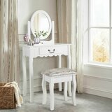 Rabideau Vanity Set with Stool and Mirror by House of Hampton®