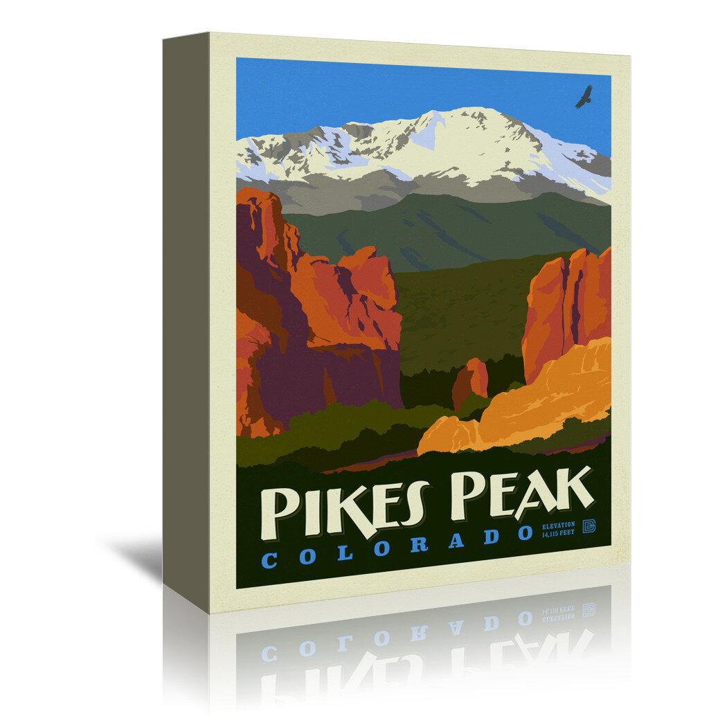 East Urban Home Asa Pikes Peak Vintage Advertisement On Wrapped Canvas Wayfair