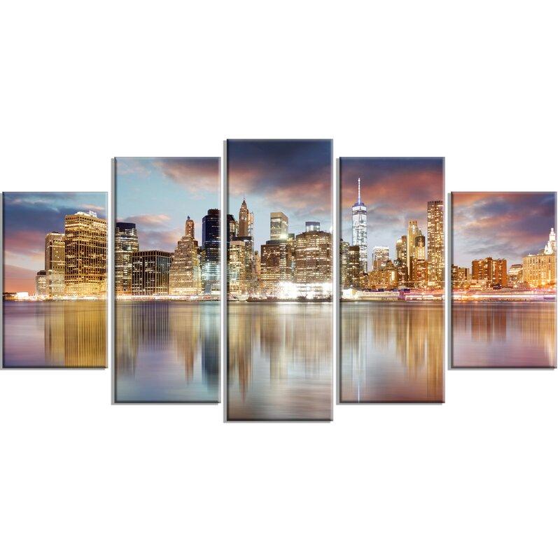 DesignArt \'New York Skyline at Sunrise with Reflection.\' 5 Piece ...