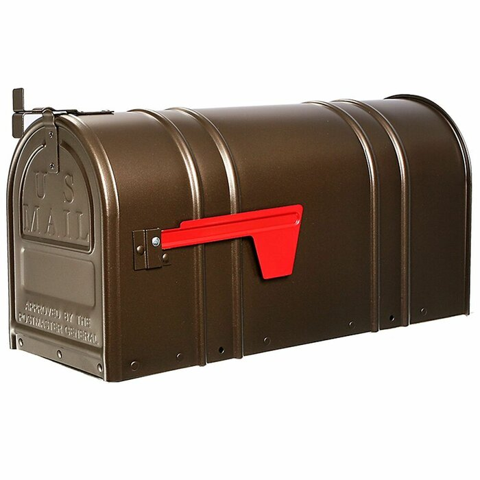 Postal Pro Post-Mount Hampton Mailbox In Bronze With Gold Lettering Durable New