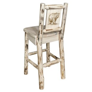 Toulon 30 Barstool With Back And Laser Engraved Bear Design by Loon Peak Purchaset