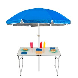 Trademark Innovations Adjustable Portable Folding Camp Table 6.5' Beach Umbrella