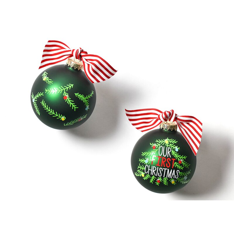 Our First Christmas Tree Glass Ball Ornament