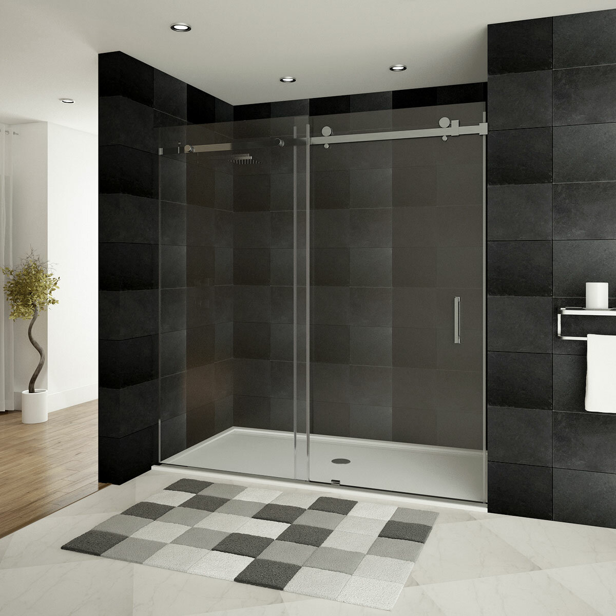 Ultra B 60 X 76 Single Sliding Frameless Shower Door