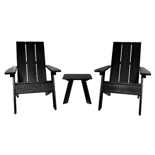 Plastic 3 Piece Adirondack Chair with Table Set by Highwood USA