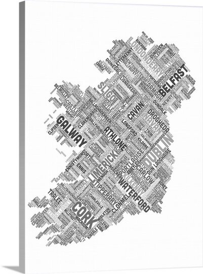 Great Big Canvas Ireland Eire City Text Map By Michael Tompsett Textual Art Wayfair