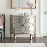 Ezell 4 Door Mirrored Half-Circle Accent Cabinet by Bungalow Rose