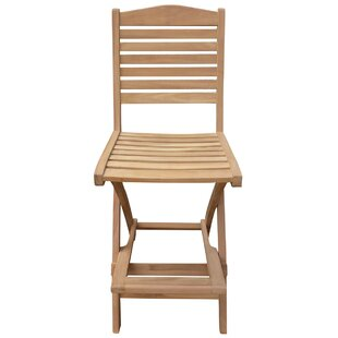 Costales Folding Teak Patio Bar Stool