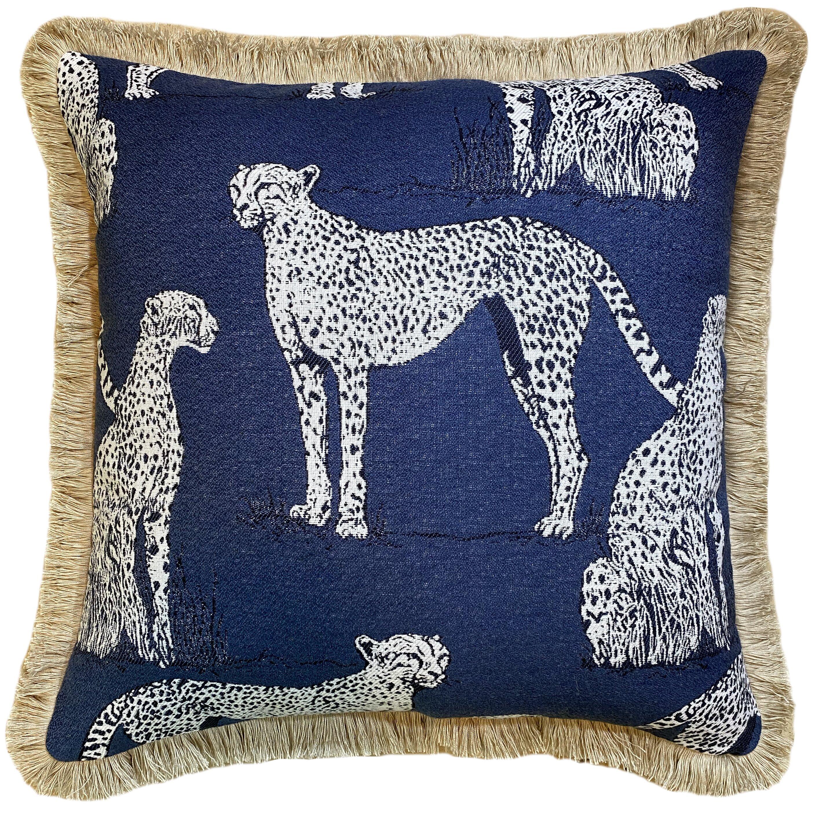 The Fabric Shoppe Savanna Cat Indigo Sunbrella Indoor Outdoor Throw Pillow Perigold