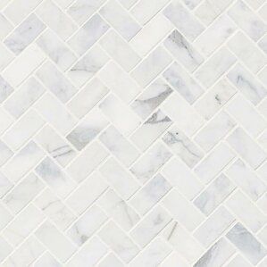 calacatta cressa herringbone honed marble mosaic tile in white - Mosaic Tiles